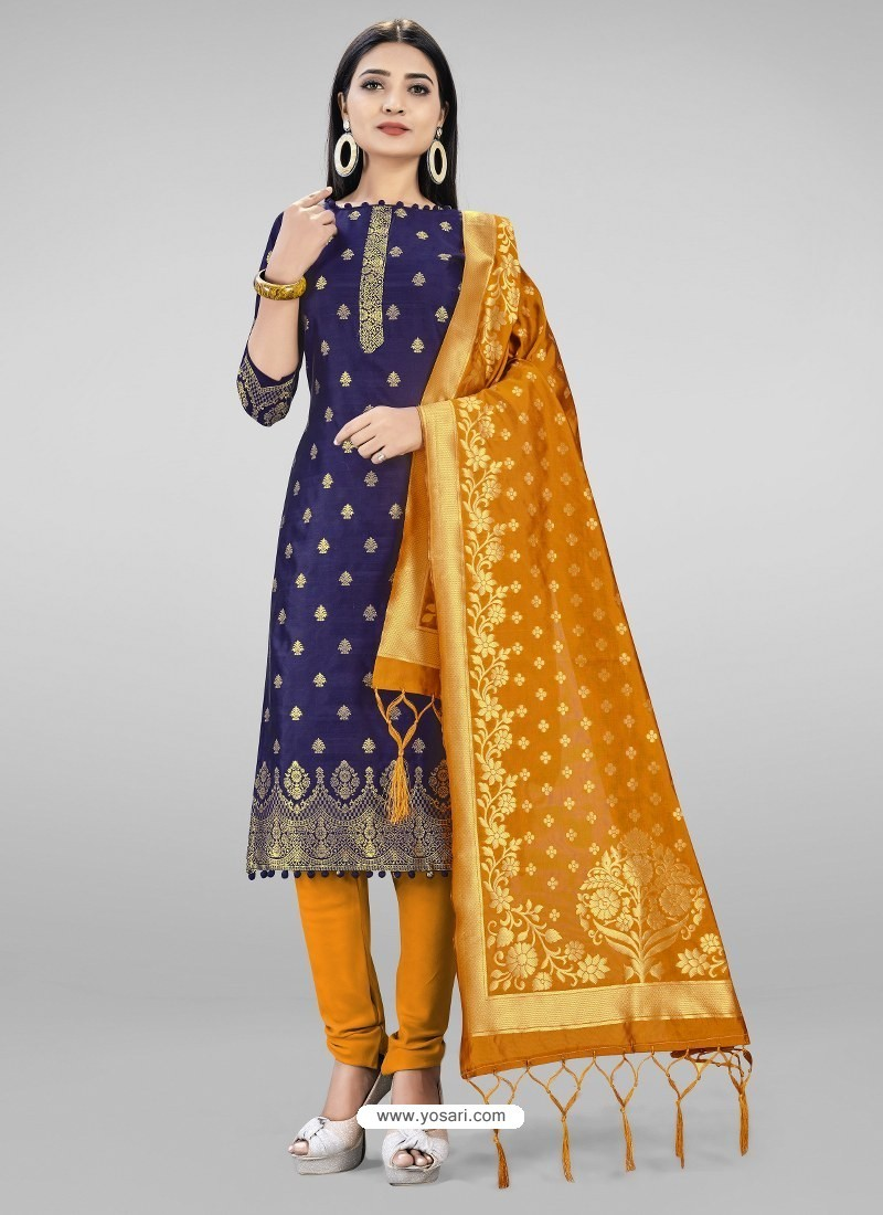 Navy Blue Heavy Designer Banarasi Silk Straight Salwar Suit