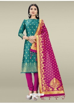 Teal Heavy Designer Banarasi Silk Straight Salwar Suit