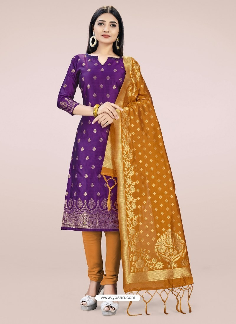 Purple Heavy Designer Banarasi Silk Straight Salwar Suit
