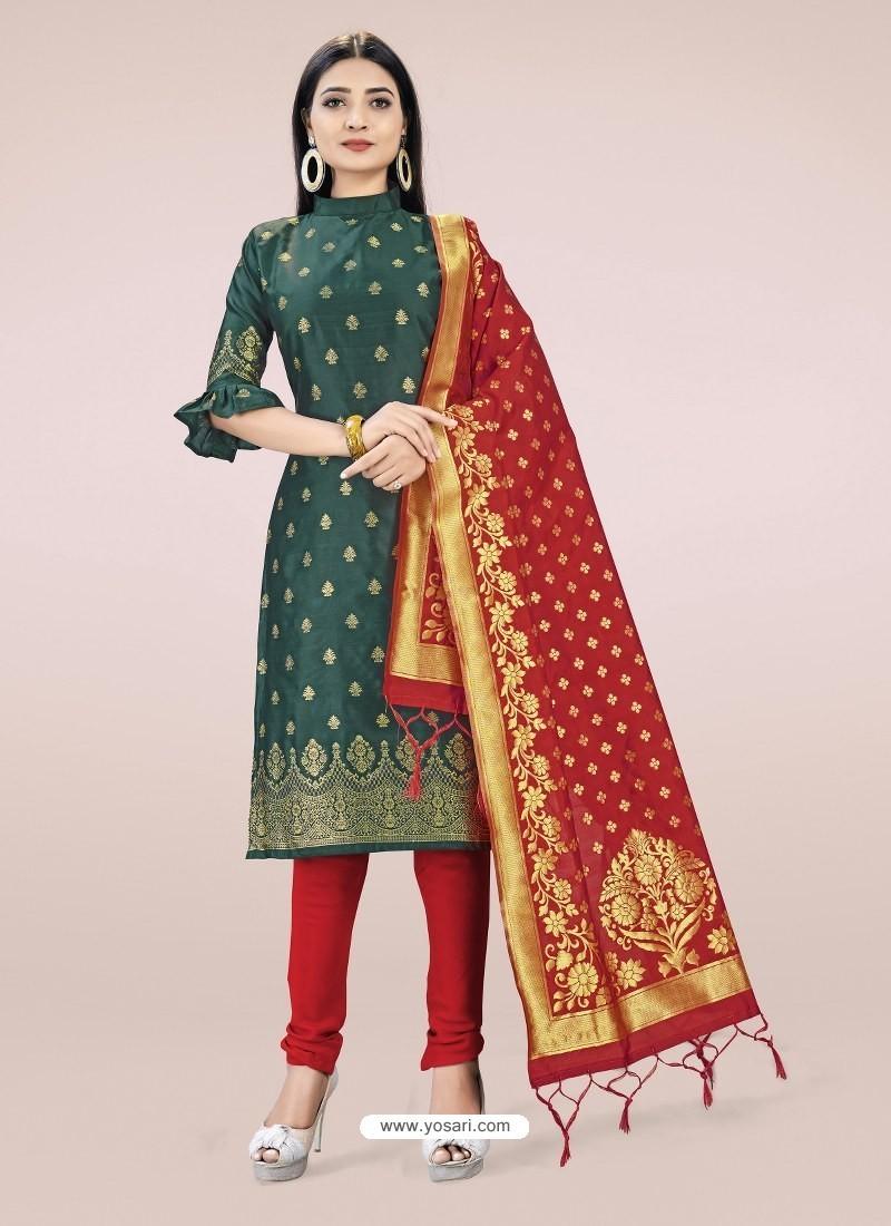 Dark Green Heavy Designer Banarasi Silk Straight Salwar Suit