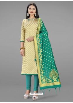 Cream Heavy Designer Banarasi Silk Straight Salwar Suit