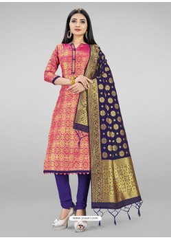 Hot Pink Heavy Designer Banarasi Silk Straight Salwar Suit