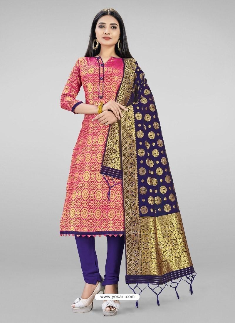 Hot Pink Heavy Designer Banarasi Silk Straight Salwar Suit