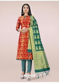 Red Heavy Designer Banarasi Silk Straight Salwar Suit