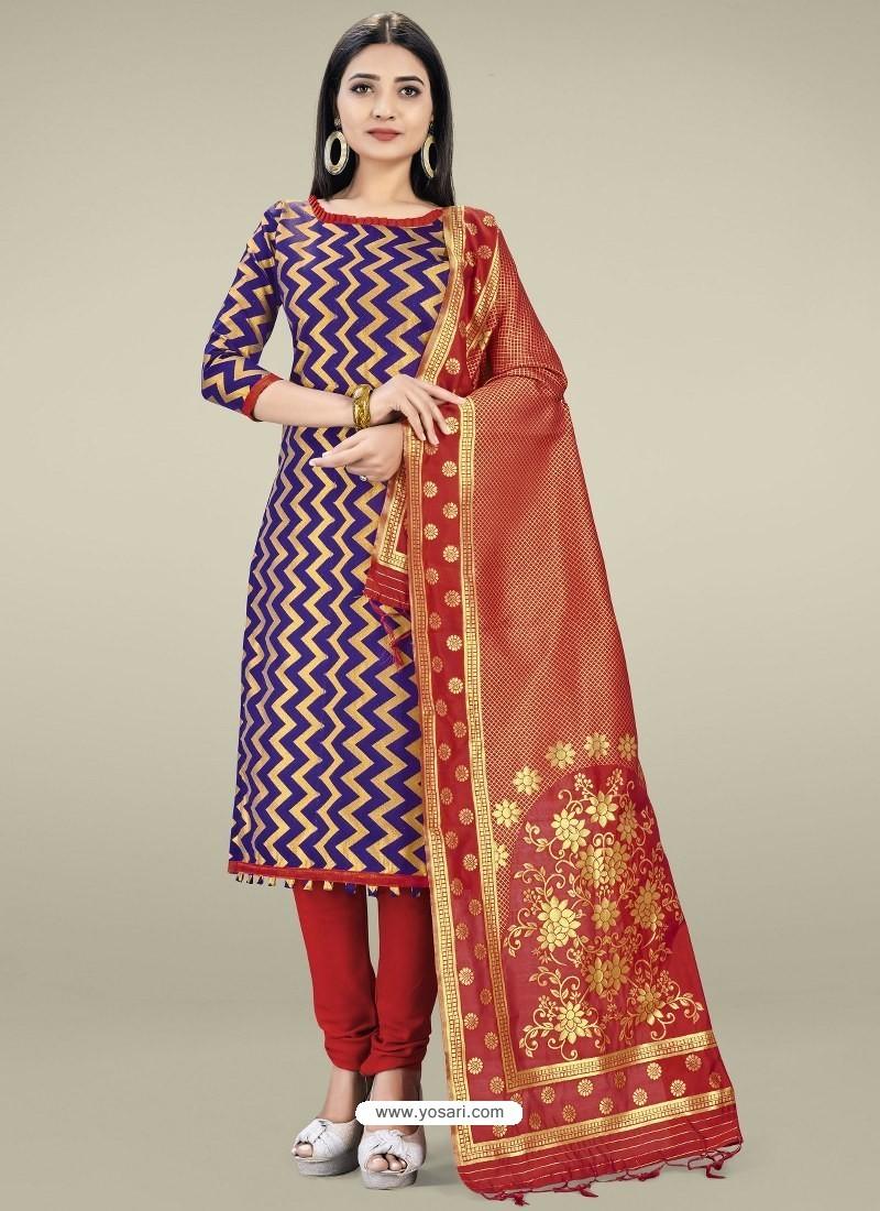 Royal Blue Heavy Designer Banarasi Silk Straight Salwar Suit