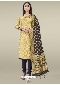 Cream Heavy Designer Banarasi Silk Straight Salwar Suit