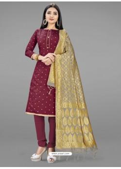 Maroon Heavy Designer Banarasi Silk Straight Salwar Suit