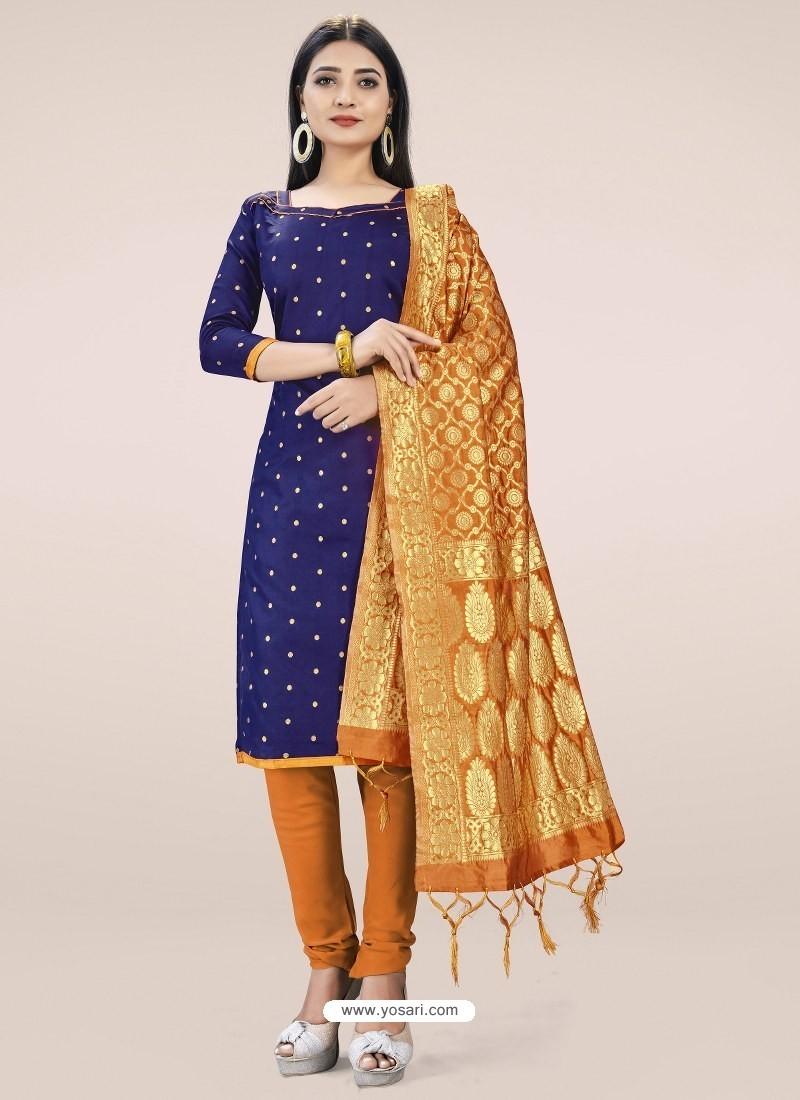 Dark Blue Heavy Designer Banarasi Silk Straight Salwar Suit