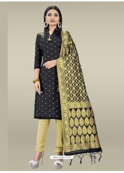 Black Heavy Designer Banarasi Silk Straight Salwar Suit