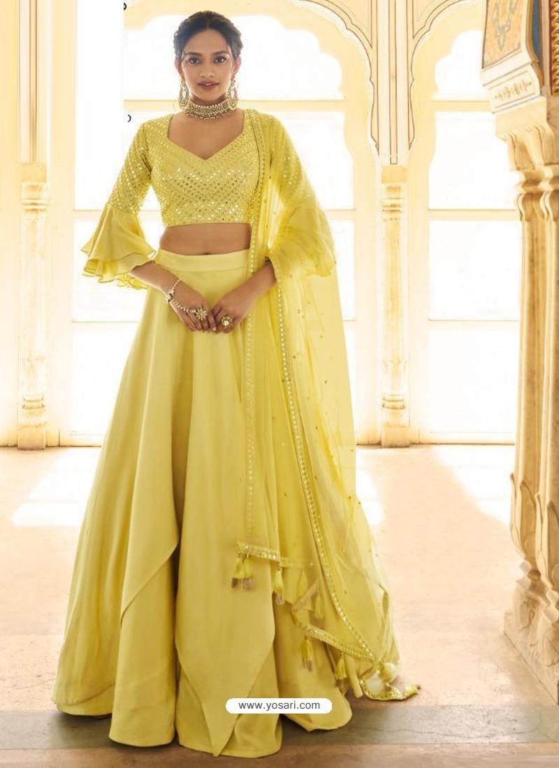 Lemon Dazzling Designer Wedding Wear Lehenga Choli