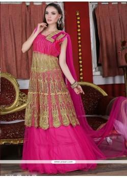 Winsome Net Hot Pink A Line Lehenga Choli