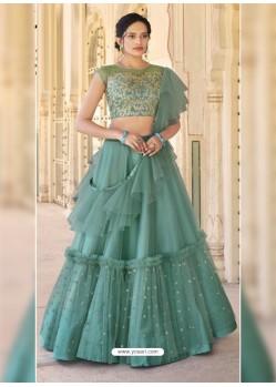 Teal Dazzling Designer Wedding Wear Lehenga Choli