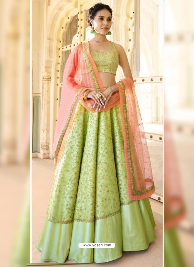 Green Dazzling Designer Wedding Wear Lehenga Choli