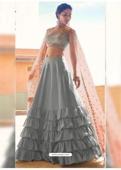 Aqua Grey Dazzling Designer Wedding Wear Lehenga Choli