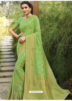 Green Designer Classic Wear Silk Sari