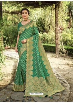 Jade Green Designer Classic Wear Silk Sari