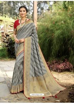 Grey Designer Classic Wear Silk Sari