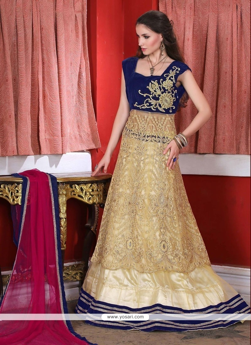 Distinctively Net Embroidered Work A Line Lehenga Choli