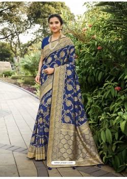 Dark Blue Designer Classic Wear Silk Sari