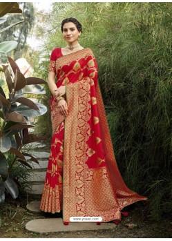 Red Designer Classic Wear Silk Sari