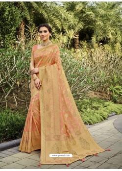 Light Orange Designer Classic Wear Silk Sari