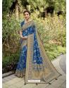 Royal Blue Designer Classic Wear Silk Sari