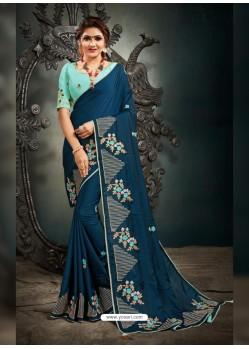 Teal Blue Designer Party Wear Satin Sari