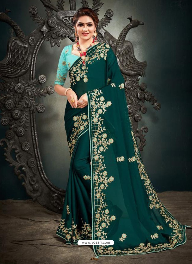 Teal Designer Party Wear Satin Sari