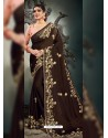 Coffee Designer Party Wear Satin Sari