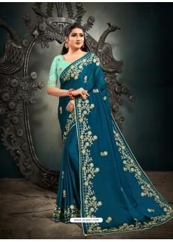 Blue Designer Party Wear Satin Sari