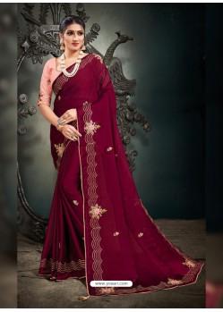 Rose Red Designer Party Wear Satin Sari