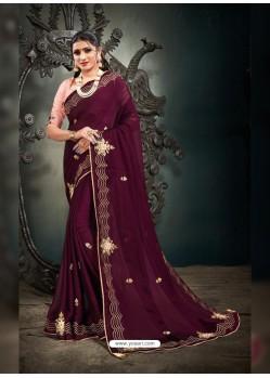 Deep Wine Designer Party Wear Satin Sari