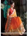 Magnificent Orange Shaded Faux Chiffon Saree