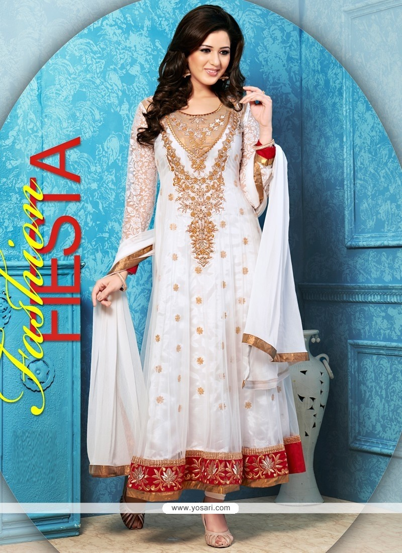 Beauteous White Net Anarkali Salwar Suit