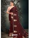 Maroon Designer Party Wear Satin Sari