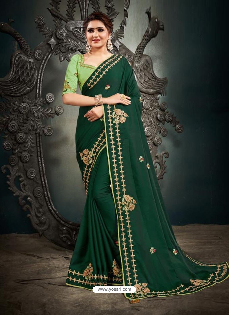 Dark Green Designer Party Wear Satin Sari
