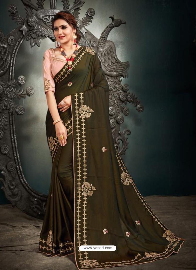 Mehendi Designer Party Wear Satin Sari