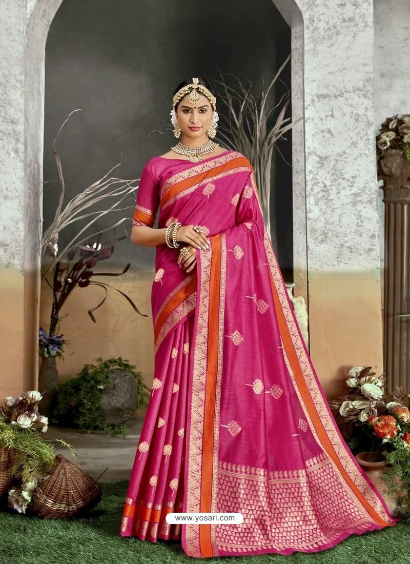 Rani Designer Party Wear Kanjivaram Cotton Silk Sari
