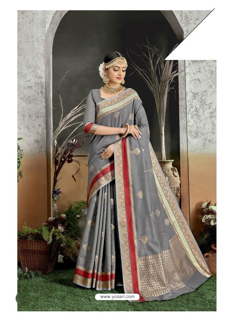 Grey Designer Party Wear Kanjivaram Cotton Silk Sari