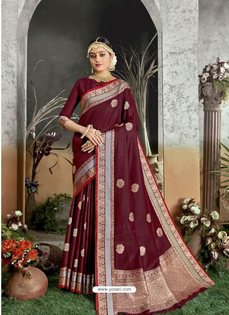 Maroon Designer Party Wear Kanjivaram Cotton Silk Sari