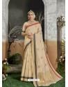 Light Beige Designer Party Wear Kanjivaram Cotton Silk Sari