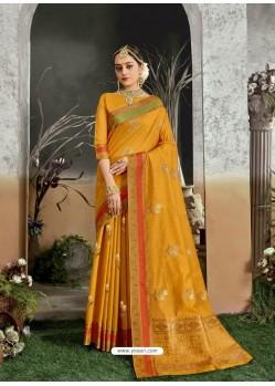 Mustard Designer Party Wear Kanjivaram Cotton Silk Sari