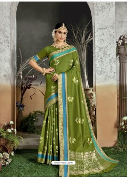 Parrot Green Designer Party Wear Kanjivaram Cotton Silk Sari