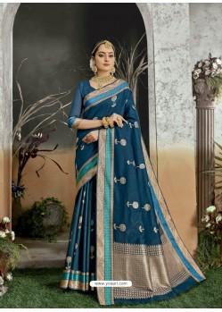 Teal Blue Designer Party Wear Kanjivaram Cotton Silk Sari