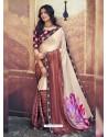 Light Beige Designer Party Wear Floral Chiffon Sari