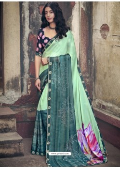 Sea Green Designer Party Wear Floral Chiffon Sari