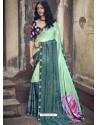 Sea Green Designer Party Wear Floral Chiffon Sari