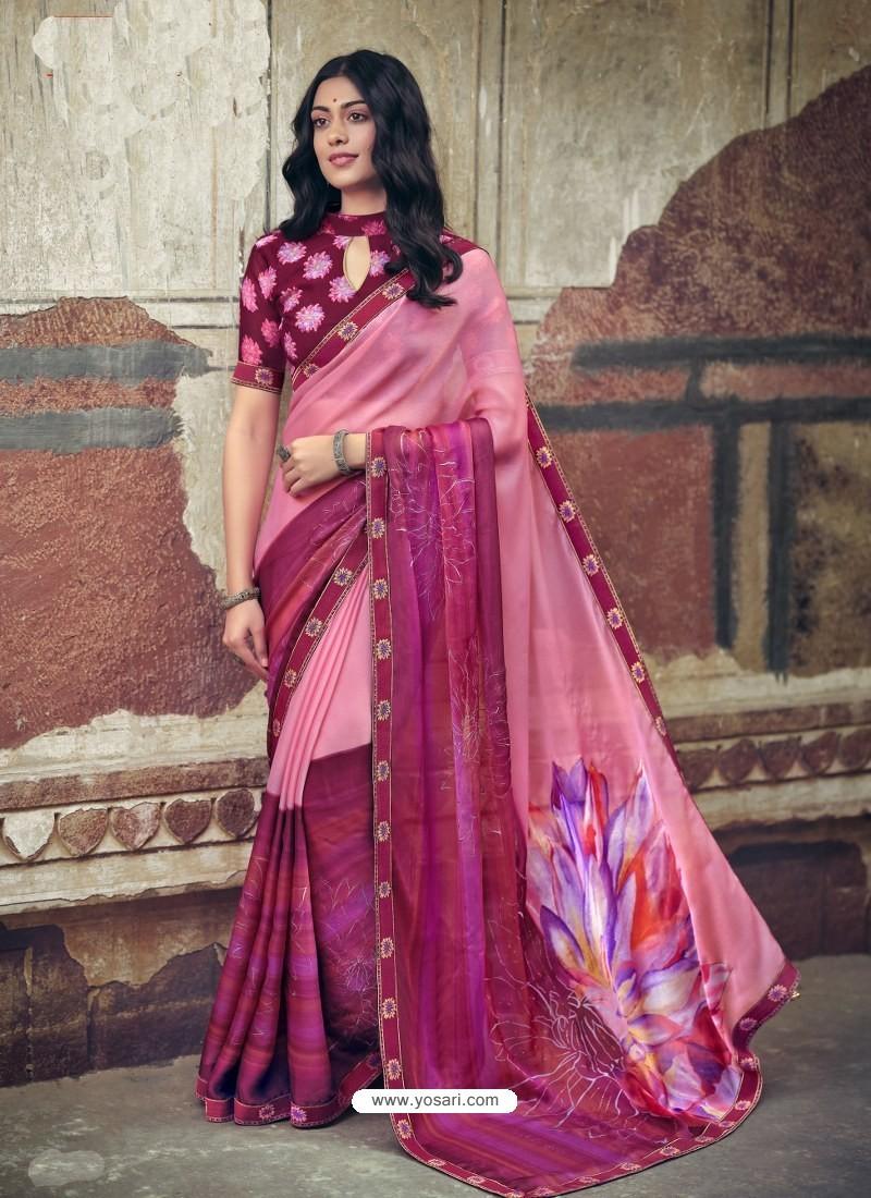 Pink Designer Party Wear Floral Chiffon Sari