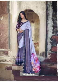 Light Grey Designer Party Wear Floral Chiffon Sari