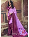 Mauve Designer Party Wear Floral Chiffon Sari